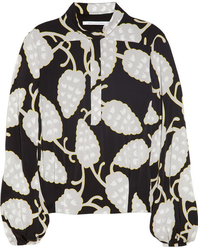 Diane von Furstenberg Blair printed stretch-silk top