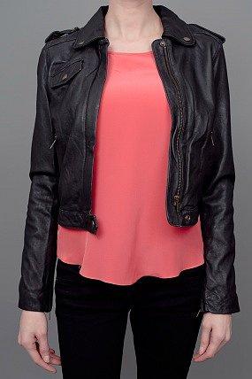 Current/Elliott Zip Moto Jacket Black
