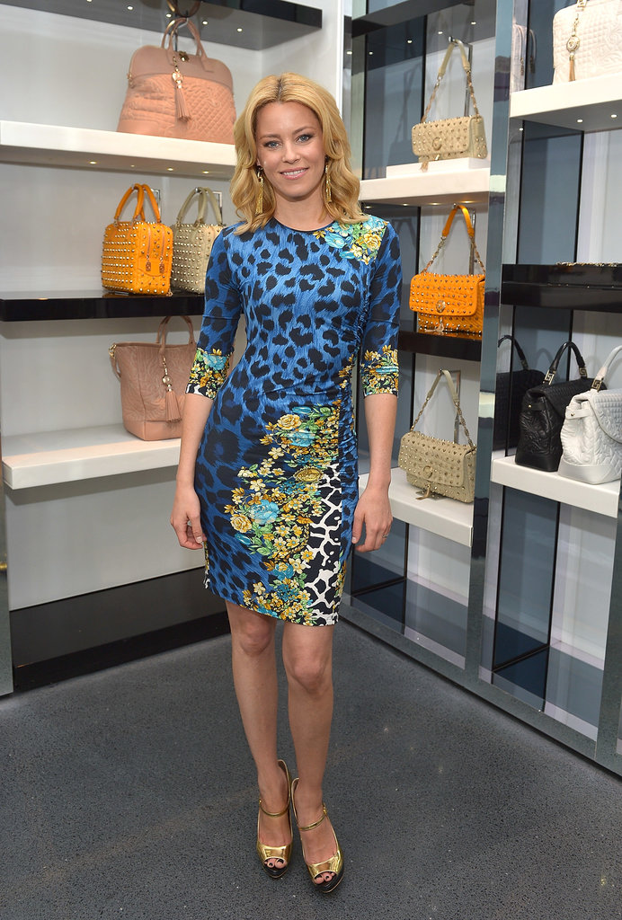 Elizabeth Banks proved that florals and animal print are quite a striking match at a Versace luncheon in Beverly Hills.