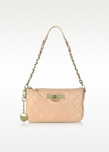 DKNY Soft Pink Quilted Leather Shoulder Bag