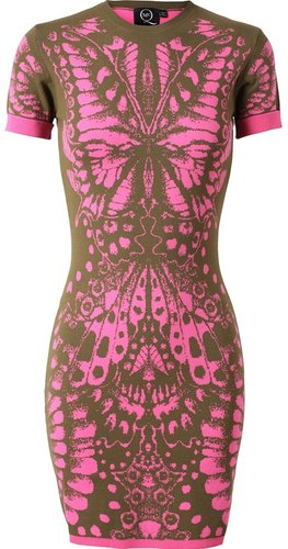 Mcq By Alexander Mcqueen Butterfly-intarsia Stretch Knit Dress