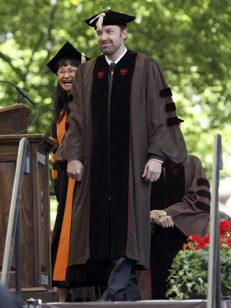 Ben Affleck smiled before accepting his doctorate degree at Brown University.