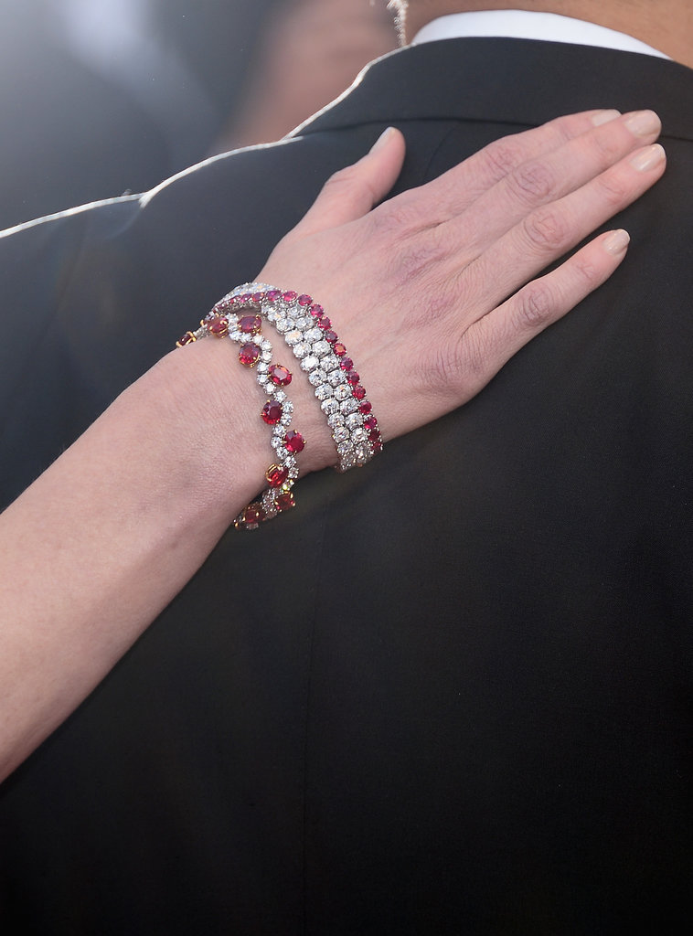 All that white was broken up with some gorgeous ruby and diamond bracelets, also by Harry Winston.
