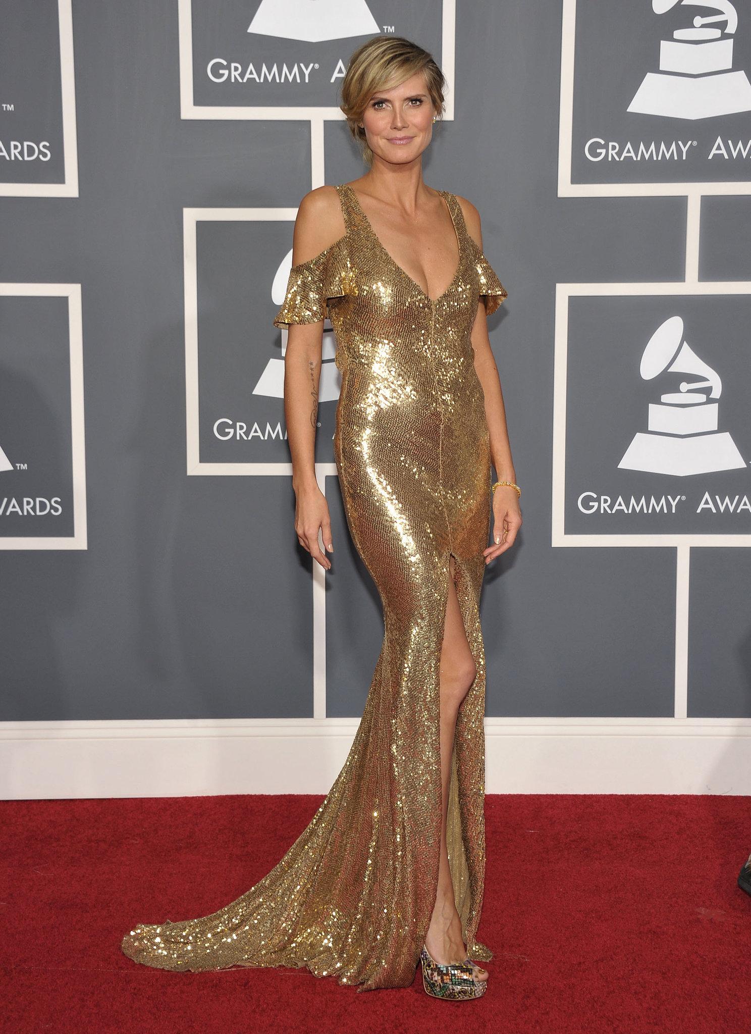 Heidi Klum in a Gold Julien Macdonald at the 2011 Grammy Awards