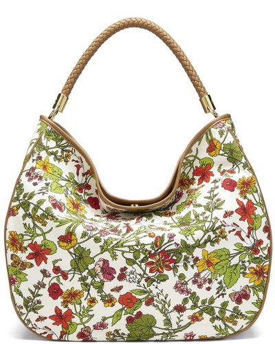 Floral Printed Canvas Hobo Bag