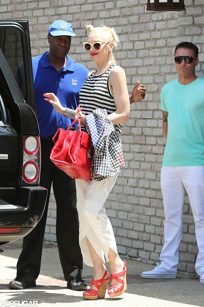 Gwen Stefani wore a striped tank top.