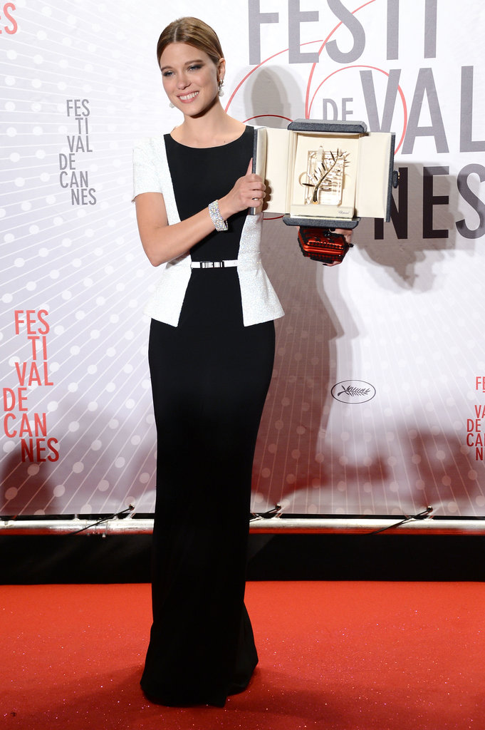 Lea Seydoux with her Palm d'Or award for La Vie D'adele in Cannes.