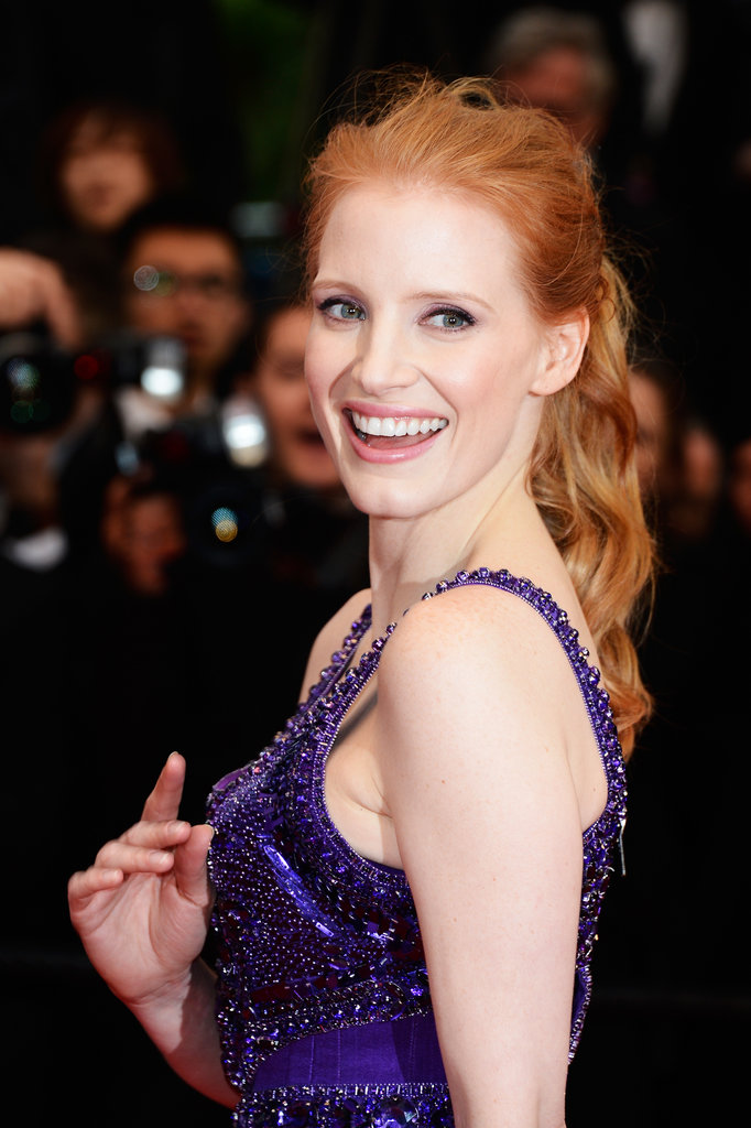 For her night out in Cannes on the All Is Lost red carpet, Jessica Chastain went for a tousled ponytail with natural makeup that played up her eyes.
