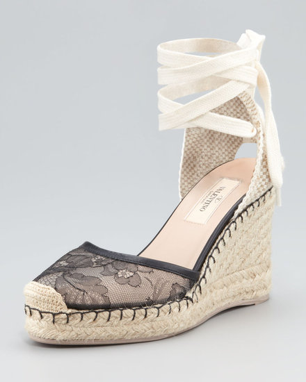 Valentino Lace-Covered Espadrille Wedge