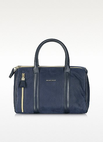 See by Chloé Midnight Blue Nabuk 24 Hour Bag