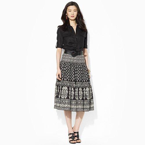 Ralph Lauren Patchwork Tiered Silk Skirt
