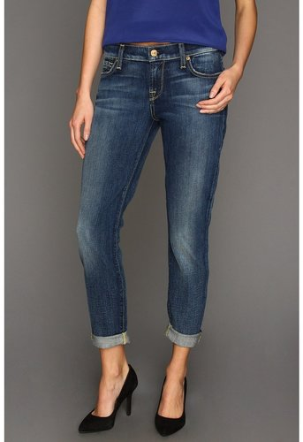 7 For All Mankind - Skinny Crop Roll in Grinded Blue (Grinded Blue) - Apparel