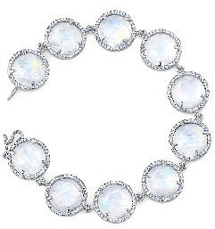 Irene Neuwirth Rose Cut Rainbow Moonstone Bracelet with Diamonds - White Gold