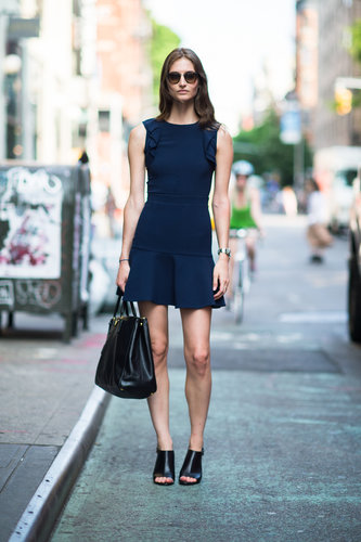 Just the way we want to look at work this Summer: polished and easy in a perfect-fitting sheath and a great pair of open-toe heels to show off our pedicures. Source: Le 21ème | Adam Katz Sinding