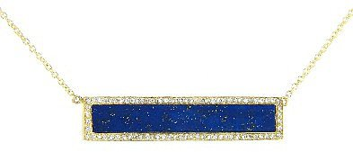 Jennifer Meyer Lapis Bar Pendant with Diamonds - Yellow Gold