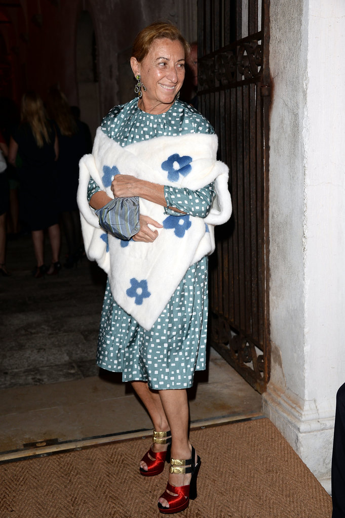 Miuccia Prada at the Fondazione Cini, Isola Di San Giorgio dinner party during the 2013 Venice Biennale in Italy.