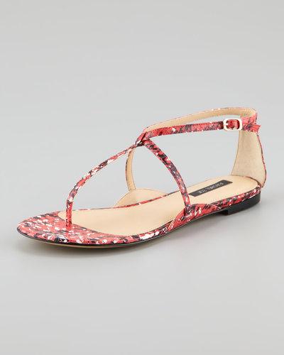 Rachel Zoe Gwen Snakeskin Flat Sandal, Pink/Black