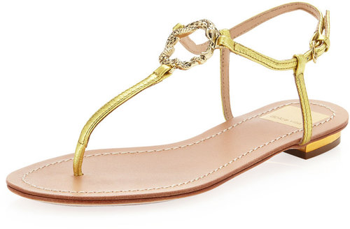 Dolce Vita Banks Metallic Snake-Charm Flat Sandal, Gold