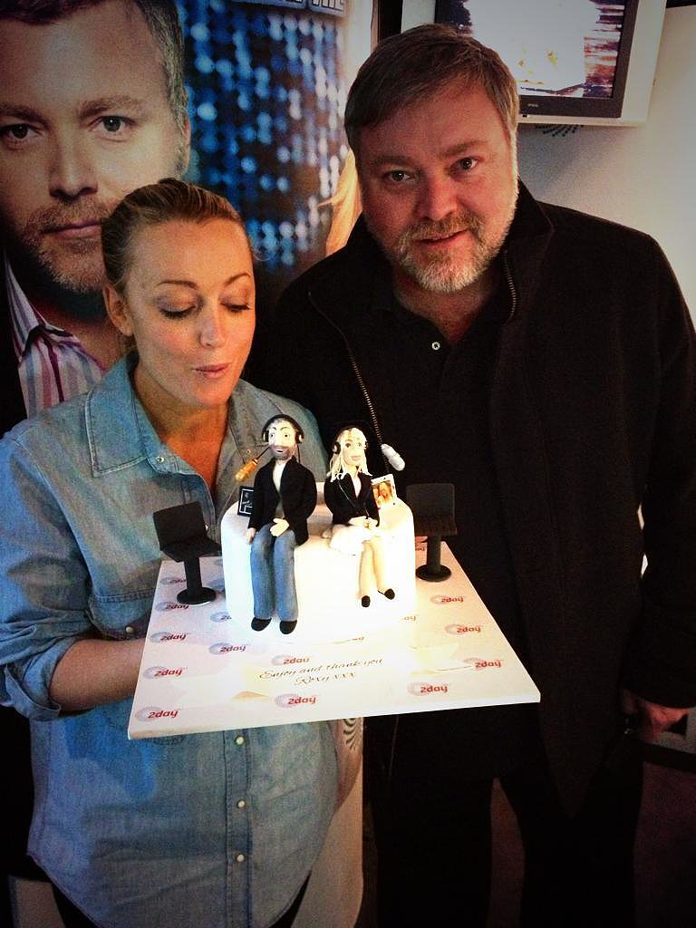 Jackie O and Kyle Sandilands received a cute cake from Celebrity Apprentice star Roxy Jacenko. Source: Twitter user kyleandjackieo