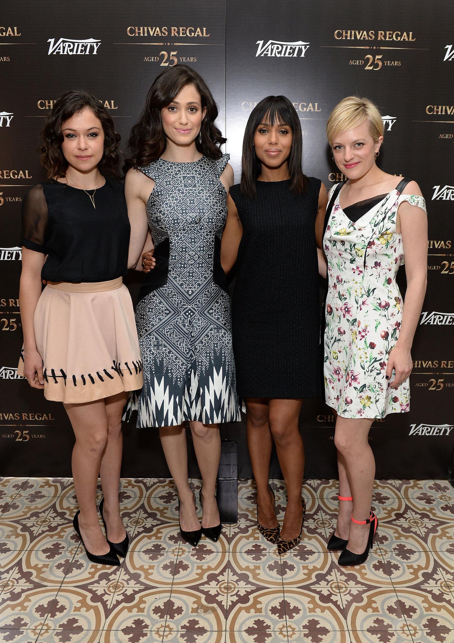 Tatiana Maslany, Emmy Rossum, Kerry Washington, and Elisabeth Moss arrived at Variety's Emmy Studio.