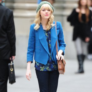 Emma Stone Outfit Filming Spiderman 2   Video