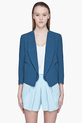 CHLOE Blue textured wool open Blazer
