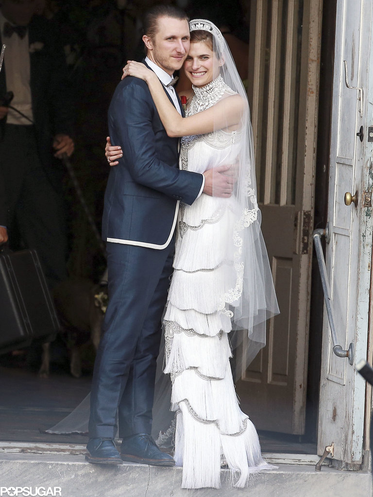 Lake Bell posed for photos with her new husband, Scott Campbell.