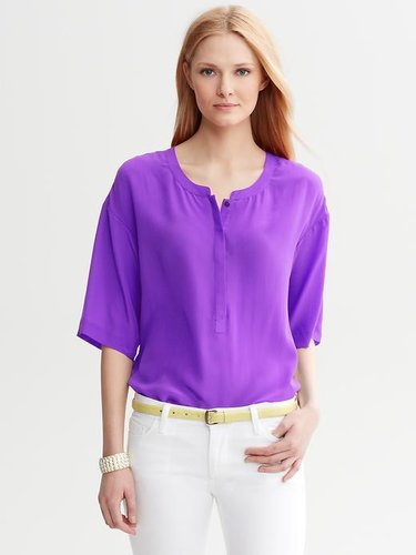 Dolman-Sleeve Silk Top