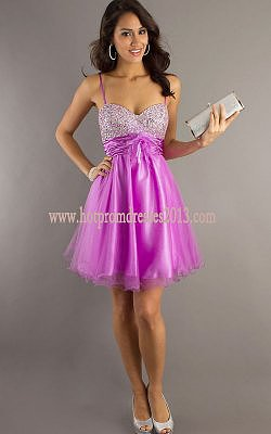 2013 Junior Purple Beaded Short Sequin Prom Dress Cheap