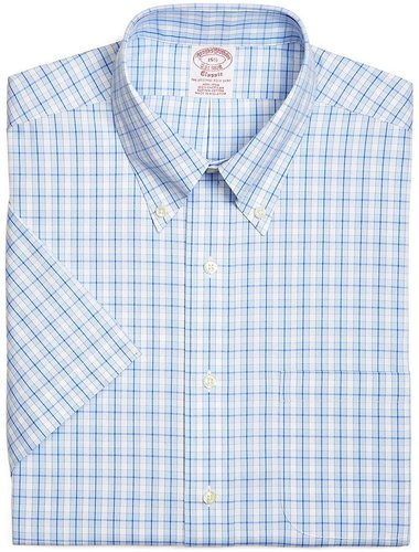 Supima® Cotton Non-Iron Traditional Fit Fun Check Pinpoint Short-Sleeve Dress Shirt