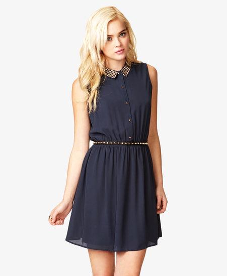 FOREVER 21 Studded Collar Chiffon Dress