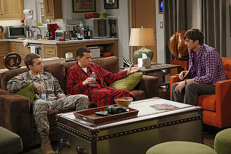 Two and a Half Men What happens:  Walden falls for the hot, accomplished grandmother of his new ditzy girlfriend — who catches them in bed. Jake and Alan go on a father/son bonding trip, and Jake tells Alan how much he meant to Jake growing up.  Most shocking moment: Jake ships off to Japan.