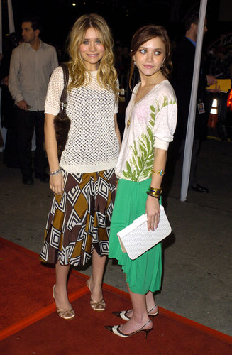 Twinning combo: The twins made a statement in printed separates for Starsky & Hutch's LA premiere.  Ashley balanced her geometric-print midi skirt with a short-sleeved crocheted sweater and satin pumps. Mary-Kate spiced up her ruffled green skirt with a leaf-print sweater and wing-tipped sling-back pumps.