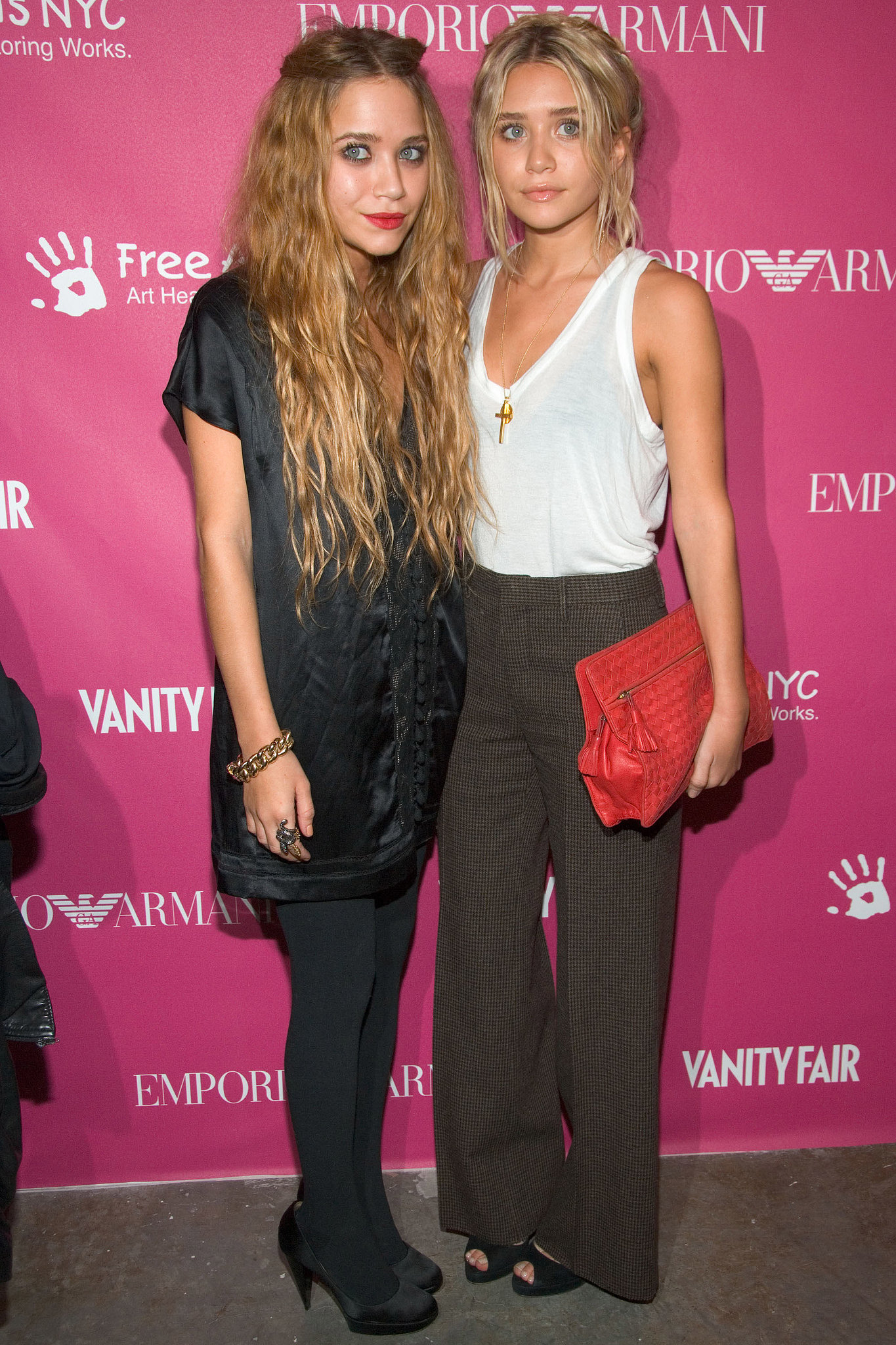 Twinning combo: Mary-Kate and Ashley showed yet another example of their fashion prowess, working Winter-ready looks for the seventh annual Art + Photography Auction Benefit in 2006.   Mary-Kate layered up in a silky tunic, opaque tights, and satin pumps. Ashley tucked a fitted white tank into high-waisted herringbone trousers, then finished off with a woven red clutch.