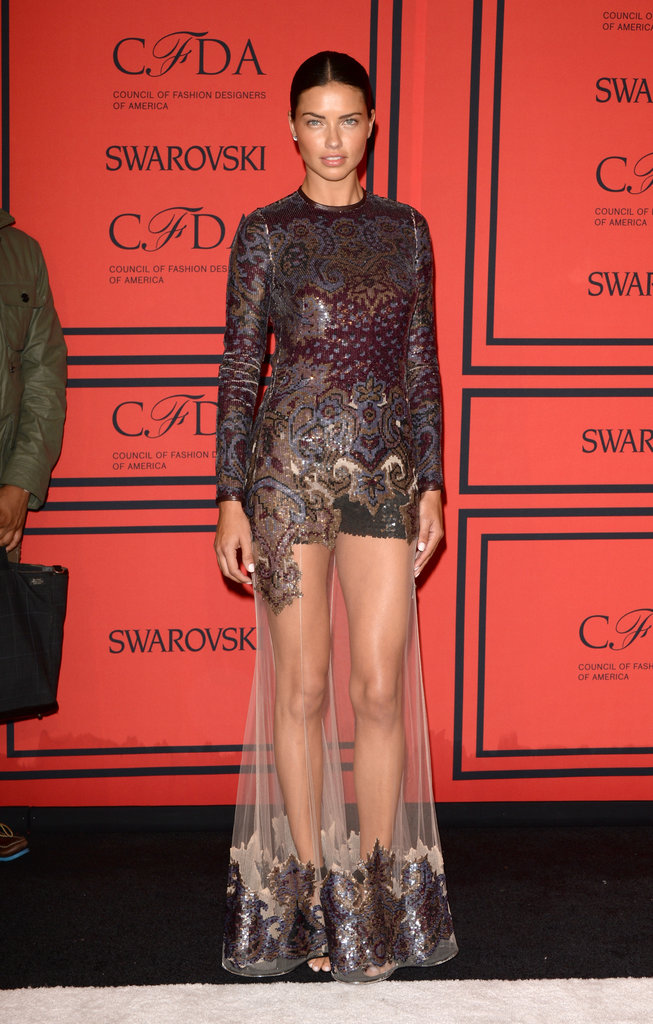 Adriana Lima showed off her (killer) legs in this sheer-skirted gown.