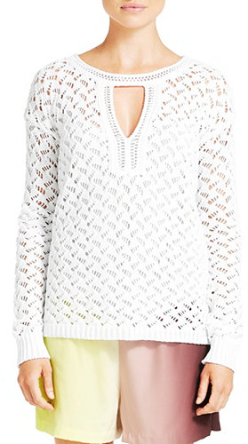 Cora Lace Crochet Sweater In Sea Salt
