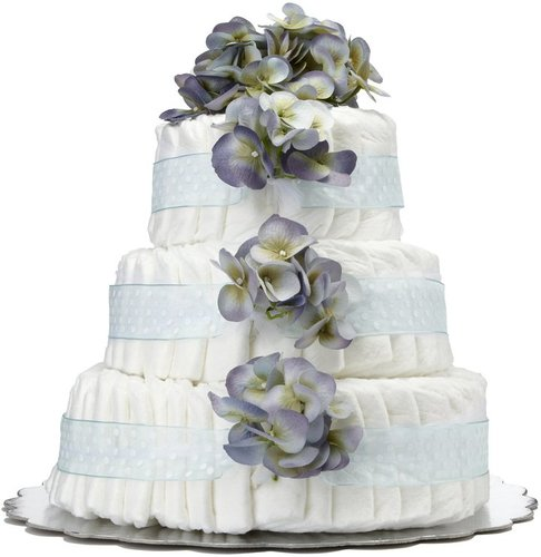Bella Sprouts Three-Tier Diaper Cake - Blue Polka Dot Hydrangeas