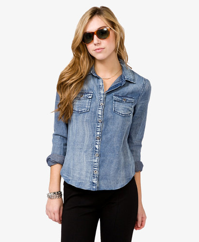 FOREVER 21 Sandblasted Denim Shirt