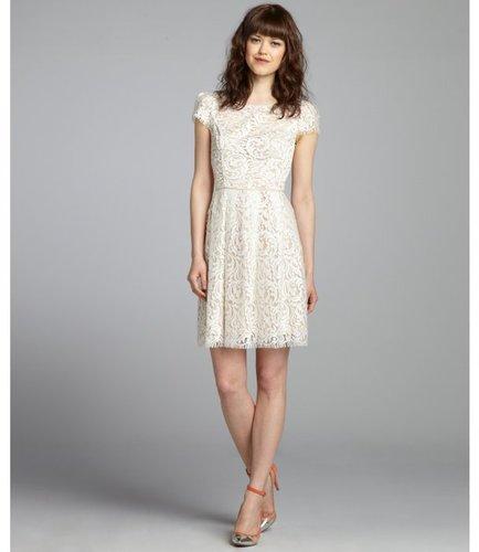 A.B.S. by Allen Schwartz cream and nude lace short sleeve eyelash trim dress