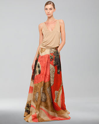 Akris Garden-Print Floor-Length Apron Skirt