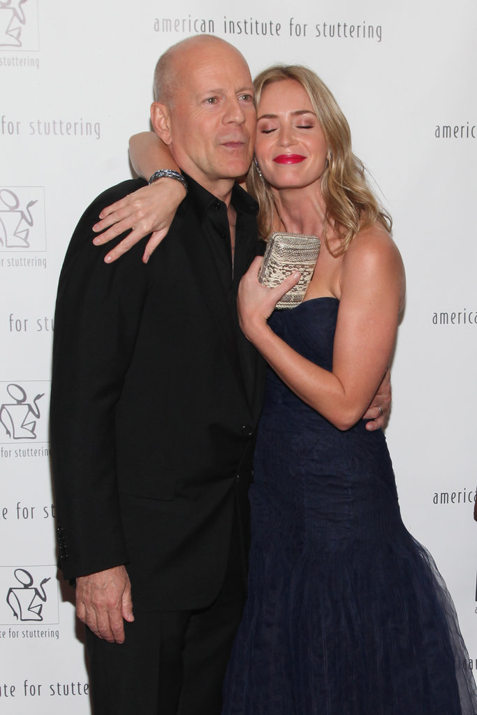 Emily Blunt hugged Bruce Willis on the red carpet last night in NYC.