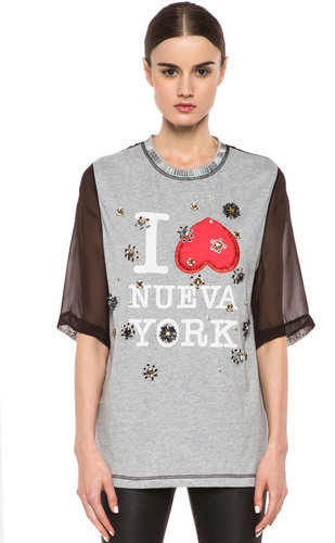 3.1 phillip lim Nueva York Floral Eyelet Embroidery Tee in Heather Grey