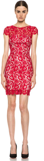 NICHOLAS Colette Lace Cap Sleeve Dress in Red