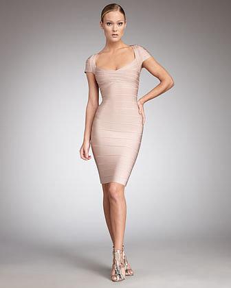 Herve Leger Cap-Sleeve Bandage Dress, Bare