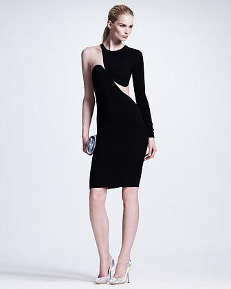 Stella McCartney Contoured Mesh-Inset One-Sleeve Sheath Dress