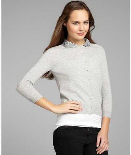 Autumn Cashmere fog cashmere sequined peter pan collar cardigan