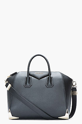 GIVENCHY Medium Matte Black Leather Metal-Bumper Duffle Bag