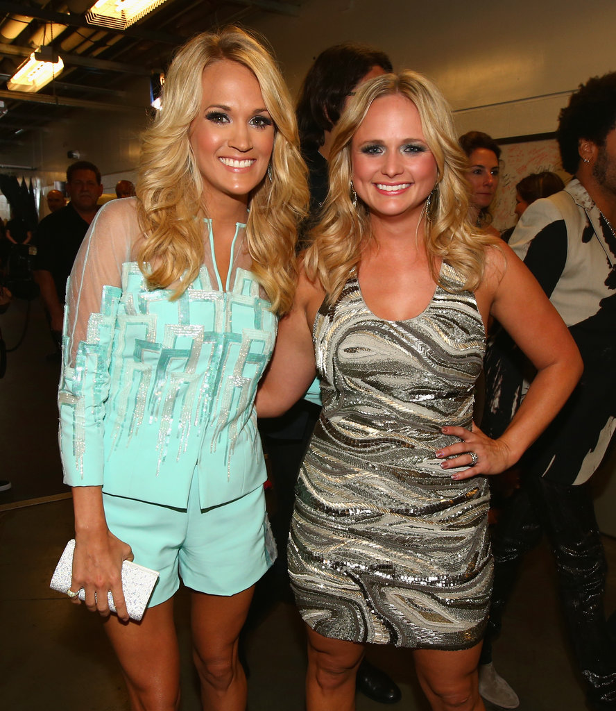 Carrie Underwood and Miranda Lambert posed together backstage.