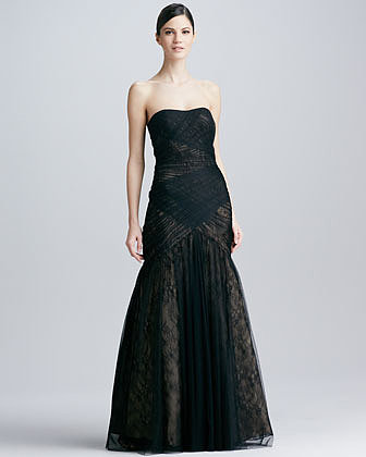 ML Monique Lhuillier Strapless Lace & Tulle Gown