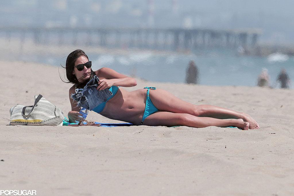 Bachelorette Desiree Hartsock laid on the beach in LA.